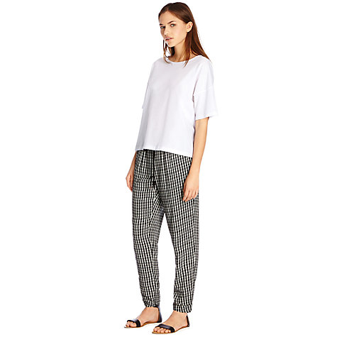 Buy Warehouse Graphic Soft Printed Trousers, Black Online at johnlewis.com