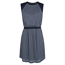 Buy Mango Padded Shoulder Printed Dress, Navy Online at johnlewis.com