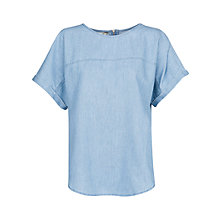 Buy Mango Jacquard Denim Shirt, Pastel Blue Online at johnlewis.com