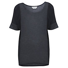 Buy Miss Selfridge Chiffon Panel T-Shirt, Grey Online at johnlewis.com