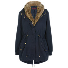 Buy Miss Selfridge Fur Collar Parka Jacket, Navy Online at johnlewis.com