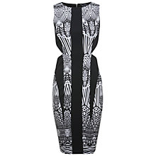 Buy Miss Selfridge Geometric Print Cutout Bodycon Dress, Black Online at johnlewis.com