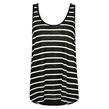 Buy Mango Striped Linen Blend Vest Top, Black Online at johnlewis.com