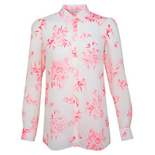 Buy Miss Selfridge Floral Print Shirt, Neon Pink Print Online at johnlewis.com