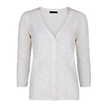 Buy Mango Floral Jacquard Cardigan, Natural White Online at johnlewis.com