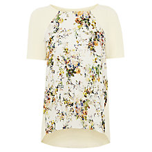 Buy Warehouse Floral Woven Print Textured Top, Cream Online at johnlewis.com