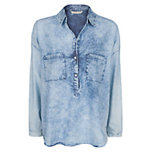 Buy Mango Bleached Denim Shirt, Pastel Blue Online at johnlewis.com