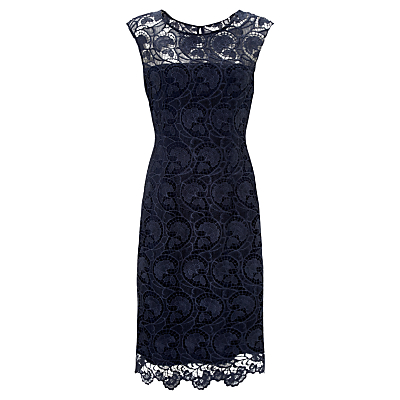 Gina Bacconi Modern Floral Guipure Dress, Spring Navy