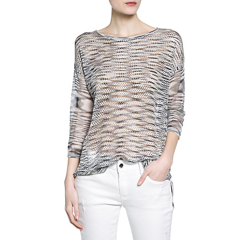Buy Mango Flecked Openwork Sweater, Medium Grey Online at johnlewis.com
