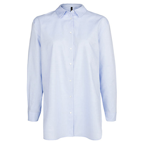 Buy Mango Long Oversized Shirt, Medium Blue Online at johnlewis.com
