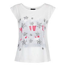 Buy Mango Sequin Printed T-Shirt, White Online at johnlewis.com