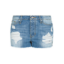 Buy Mango Light Denim Ripped Shorts, Pastel Blue Online at johnlewis.com