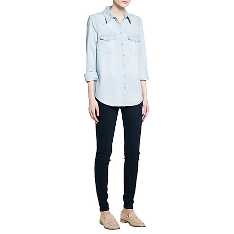 Buy Mango Light Wash Denim Shirt, Pastel Blue Online at johnlewis.com
