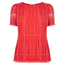 Buy Oasis Spot Mesh Pom Pom T-shirt, Coral Online at johnlewis.com