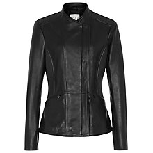 Buy Reiss Seam Detail Leather Jacket, Black Online at johnlewis.com