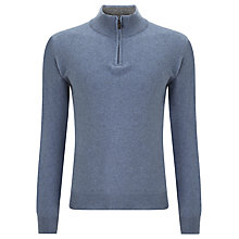 Buy John Lewis Made in Italy Cashmere Zip Neck Jumper, Brown Online at johnlewis.com