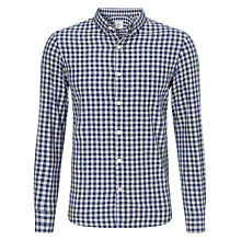 Buy John Lewis Gingham Flannel Long Sleeve Shirt, Cobalt Blue Online at johnlewis.com