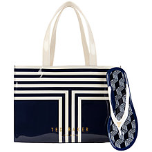 Buy Ted Baker Tebag Shopper Bag With Flip Flops, Navy Online at johnlewis.com