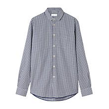 Buy Jigsaw Penny Collar Gingham Check Long Sleeve Shirt, Navy Online at johnlewis.com