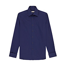 Buy Reiss Armin Cuff Detail Long Sleeve Shirt, Bright Blue Online at johnlewis.com