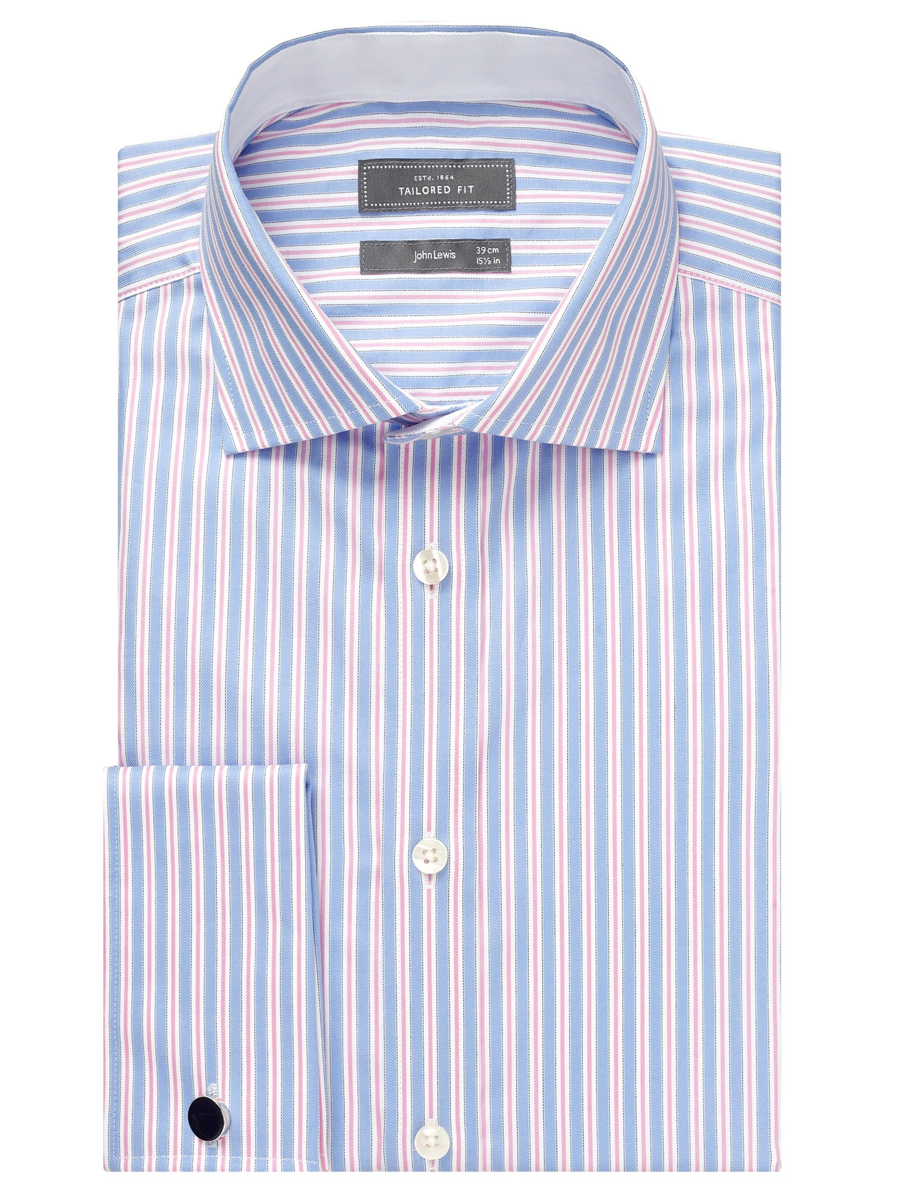 John Lewis Luxury City Stripe Shirt, Blue/Pink Image