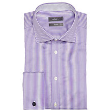 Buy John Lewis Luxury Twill Stripe Shirt with Cufflinks, Purple/White Online at johnlewis.com