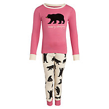 Buy Hatley Girl's Bearly Sleeping Long Sleeve Pyjamas, Pink Online at johnlewis.com