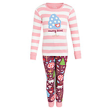 Buy Hatley Girls' Stripe Bird Pyjamas, Pink Online at johnlewis.com