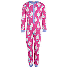 Buy John Lewis Girl Owl Jersey Onesie, Pink Online at johnlewis.com