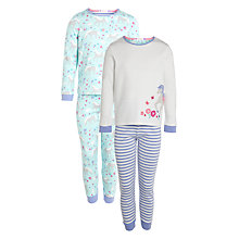 Buy John Lewis Girl Horse Applique Pyjamas, Pack of 2, Aqua/Multi Online at johnlewis.com