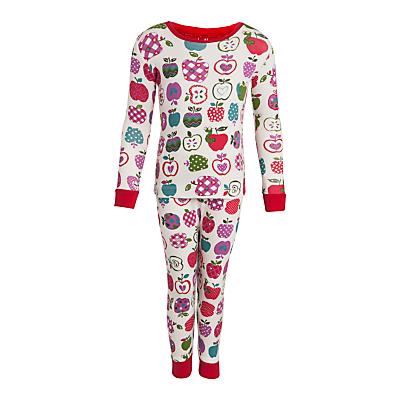Hatley Girl's Apple Long Sleeve Pyjamas, Cream