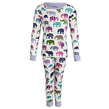 Buy Hatley Girl's Elephant Long Sleeve Pyjamas, Cream Online at johnlewis.com