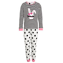 Buy John Lewis Girl 'Glow In The Dark' Rabbit Applique Pyjamas, Black/White Online at johnlewis.com