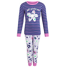 Buy Hatley Girl's Flower Long Sleeve Pyjamas, Lilac Online at johnlewis.com