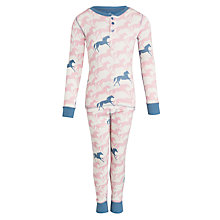 Buy Hatley Girl's Horse Long Sleeve Pyjamas, Cream Online at johnlewis.com