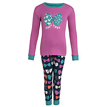 Buy Hatley Girls'  Bow Long Sleeve Pyjamas, Pink/Navy Online at johnlewis.com