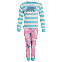 Buy Hately Girls' Bearly Sleeping Long Sleeve Pyjamas, Pink Online at johnlewis.com