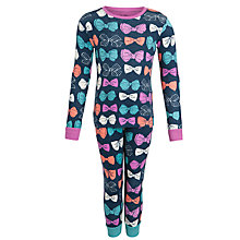 Buy Hatley Girls' Bow Long Sleeve Pyjamas, Navy Online at johnlewis.com