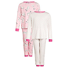 Buy John Lewis Girl Dog & Spot Print Pyjamas, Pack of 2, Pink Online at johnlewis.com