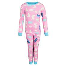 Buy Hatley Girls' Bear Long Sleeve Pyjamas, Pink Online at johnlewis.com