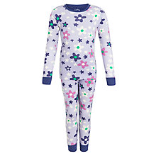Buy Hatley Girls' Flower Long Sleeve Pyjamas, Lilac Online at johnlewis.com