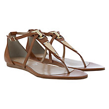 Buy Mint Velvet Kiera Leather Metal Trim Gladiator Sandals, Tan Online at johnlewis.com
