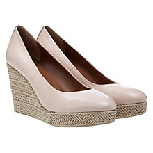 Buy Mint Velvet May Leather Raffia Wedge Heel Court Shoes, Nude Online at johnlewis.com