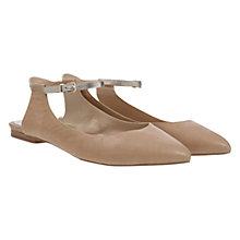Buy Mint Velvet Lila Leather Pointed Open Back Ballet Pumps, Nude Online at johnlewis.com