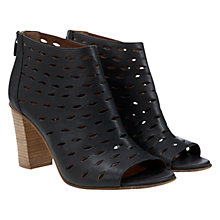 Buy Mint Velvet Melissa Cut-Out Leather Block Heel Shoe Boots, Black Online at johnlewis.com