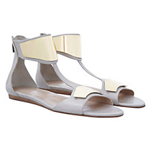 Buy Mint Velvet Leather Orla Sandals, Stone/Gold Online at johnlewis.com