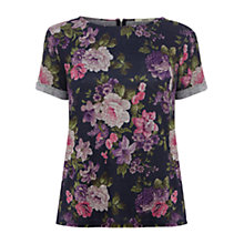 Buy Oasis Floral T-shirt, Multi Purple Online at johnlewis.com