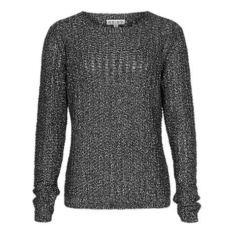 Buy Reiss Lurex Izzy Jumper, Black/Silver Online at johnlewis.com
