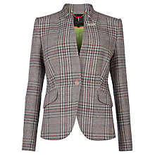 Buy Ted Baker Peggey Fluro Checked Blazer, Light Grey Online at johnlewis.com