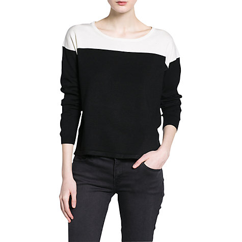 Buy Mango Monochrome Jumper, Black Online at johnlewis.com